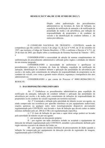 (RESOLUÇÃO Nº 404 - 12 DE JUNHO DE 2012 ... - Denatran