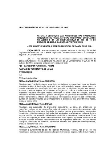 Lei Complementar nº 307/06 - Prefeitura de Santa Cruz do Sul