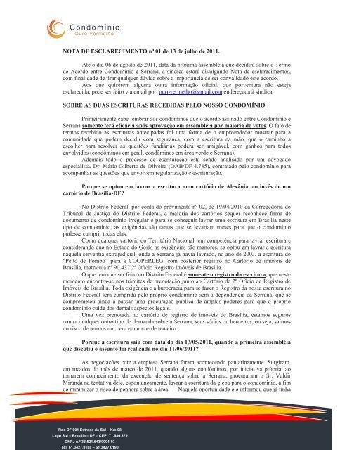 Nota de Esclarecimento I - IBS Tecnologia Web