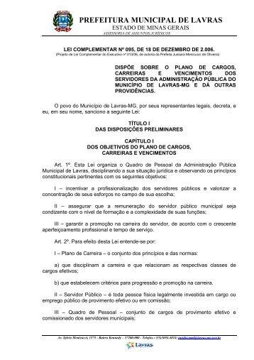 Lei Complementar nº 095/2006 - Prefeitura Municipal de Lavras
