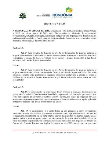 Resolução Nº 001 – Retificação - Controladoria Geral do Estado