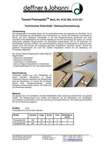 Temart FrameplateTM - Deffner & Johann