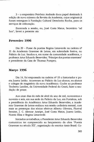 Atas das sessões realizadas em 1996