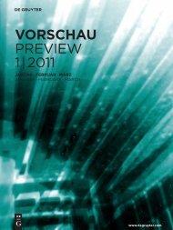 Vorschau Preview 1 | 2011 - Walter de Gruyter