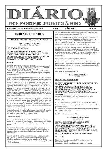 EDIÇÃO 3992.pmd - Tribunal de Justiça do Estado de Roraima