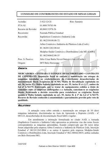 3922 - Secretaria de Estado de Fazenda de Minas Gerais
