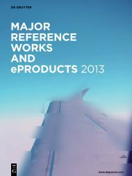 Major reference Works and eProducts 2013 - Walter de Gruyter