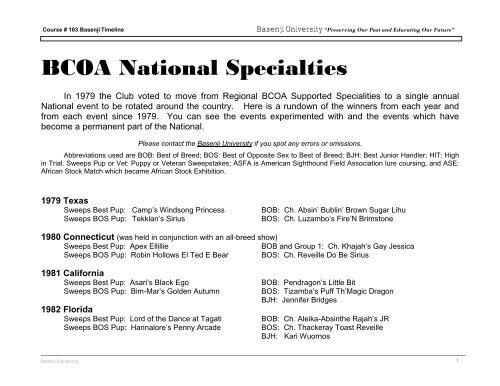BCOA National Specialty Winners - the Basenji Club of America