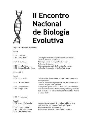 descarregar programa e lista de inscritos - Biologia Evolutiva em ...
