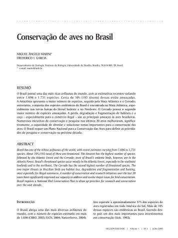 Conservação de aves no Brasil - Conservação Internacional