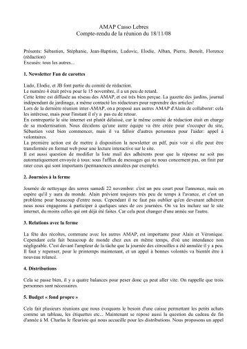 AMAP Casso Lebres Compte-rendu de la réunion du 18/11/08