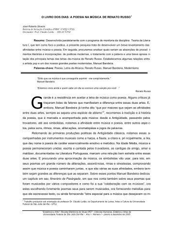 O LIVRO DOS DIAS: A POESIA NA MÚSICA DE RENATO ... - UFSJ