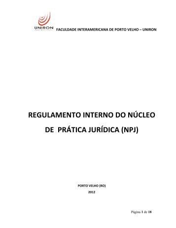 Regulamento Interno do NPJ UNIRON