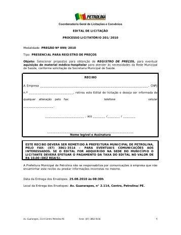Selecionar propostas para obtenção de REGISTRO DE PREÇOS