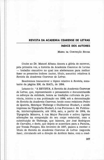 Revista da Academia Cearense de Letras - Índice dos - Portal da ...