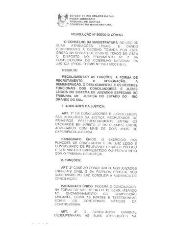 Resolução nº 905/2012 – COMAG - Escola da Ajuris