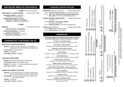 Folheto 2011-12.pdf - Instituto Diocesano da Formação Cristã