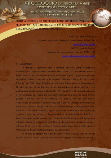 SOBRE A HISTÓRIA DO PROFESSOR LEIGO DO ... - Uninove