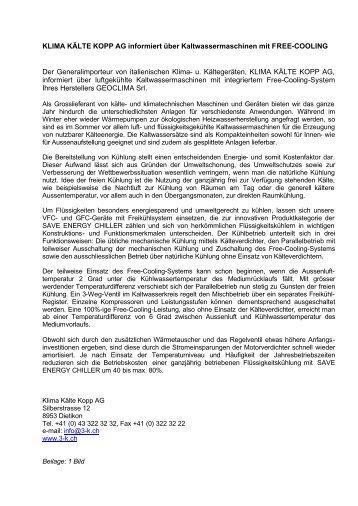 Kältemaschinen mit Freecooling HK-Bericht - Klima Kälte Kopp AG