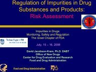 Regulation of impurities in drug substances and products