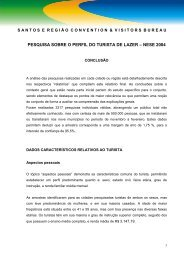 PESQUISA SOBRE O PERFIL DO TURISTA DE LAZER - InvestSantos