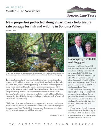 winter newsletter - Sonoma Land Trust