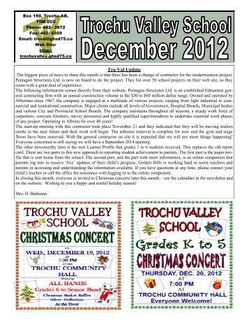 December - Trochu Valley School