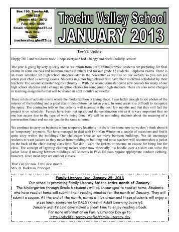 January 2013 - Trochu Valley School
