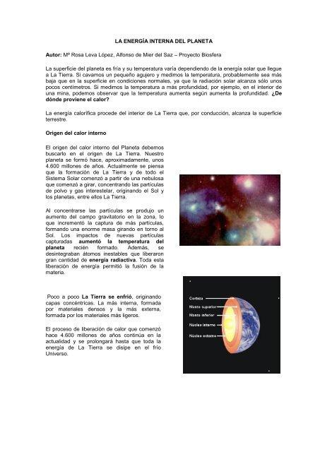 La Energía Interna Del Planeta Autor Mª Educabolivia