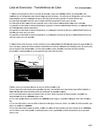 Lista de Exercícios - Transferência de Calor - Espao Fsica