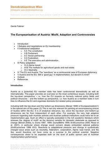 The Europeanisation of Austria - Demokratiezentrum Wien