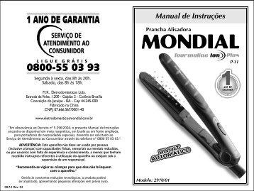 Manual_Prancha Tourmaline Íon Plus P-11 08-12 Rev02 - Mondial