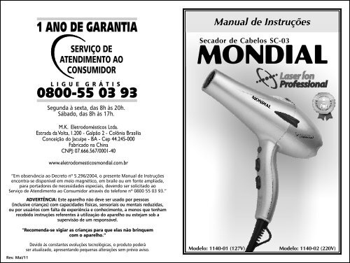 27a31060f Manual_Secador Laser Ion Professional SC-03 Rev Mai-11 - Mondial