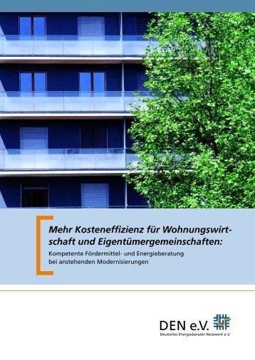 Kosteneffizienz Für Wohnungswirt- Schaft Und - Deutsches ...