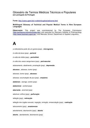 Glossário de Termos Médicos Técnicos e Populares - Livros Grátis