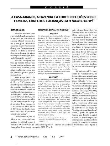 A casa grande, a fazenda ea corte - Revista de Ciências Sociais