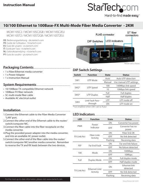 1 x RJ-45 StarTech.com 10//100 Fiber to Ethernet Media Converter Multi Mode SC 2 km MCM110SC2