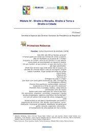 Módulo IV - Direito à Moradia, Direito à Terra e Direito à ... - DHnet