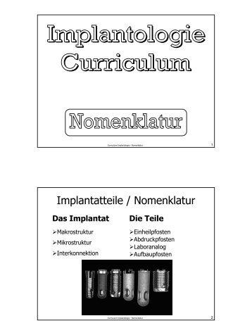 Implantologie-Curriculum 03 - Nomenklatur