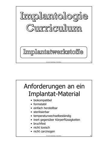 Implantologie-Curriculum 04 - Werkstoffe