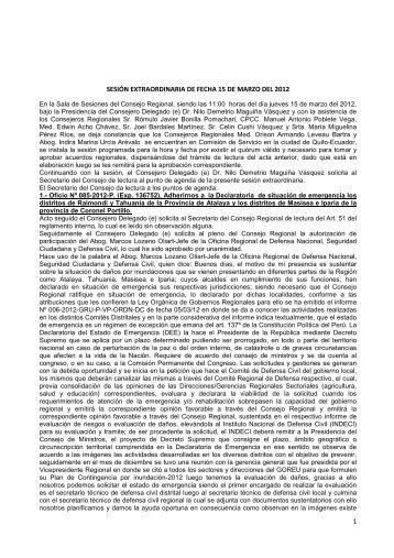 1 sesión extraordinaria de fecha 15 de marzo del 2012 - Gobierno ...