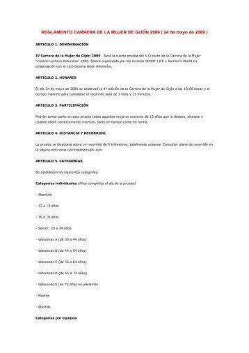 REGLAMENTO CARRERA DE LA MUJER DE GIJÓN 2009 ( 24 de ...