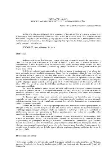 Interações no IRC: funcionamento discursivo pelo viés da designação