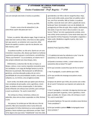 Ensino Fundamental – Profª. Rogéria – 7º ANO - ClickFacil.net