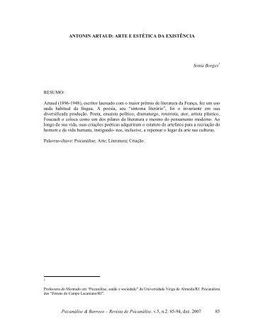 Antonin Artaud: arte e estética da existência - Psicanálise & Barroco