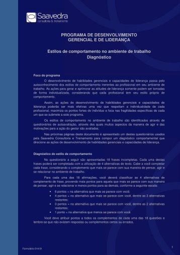 diagnóstico de estilos de comportamento - Saavedraconsultoria ...