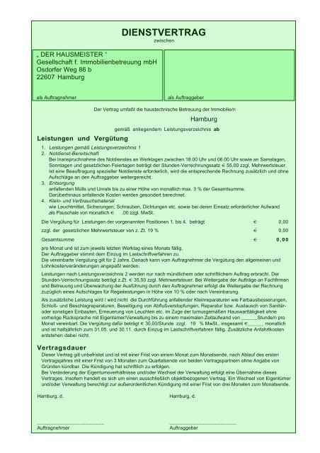 Dienstvertrag Der Hausmeister Gmbh In Hamburg