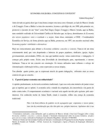 ECONOMIA SOLIDÁRIA: CONCEITOS E CONTEXTO1 ... - Capina