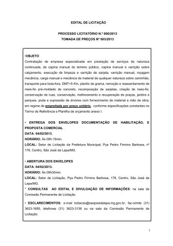EDITAL - CAPINA - Prefeitura de São José da Lapa