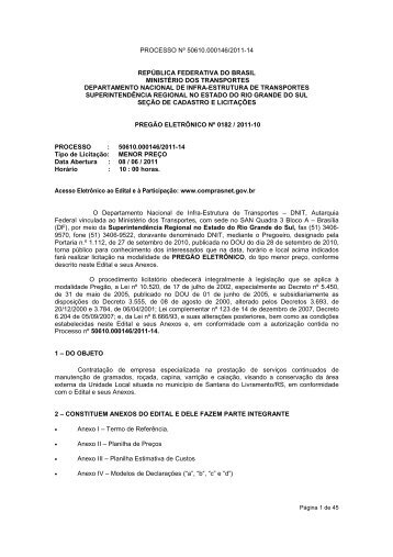 Edital nº 0182/2011-10 - DNIT